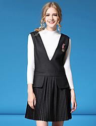 Women's Formal / Work Cute / Street chic Fall / Winter Set Skirt Suits,Solid Round Neck Long Sleeve Black Nylon Medium