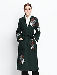 Feminino Casaco Casual Vintage Outono / Inverno, Bordado Verde Lã / Poliéster Colarinho de Camisa-Manga Longa
