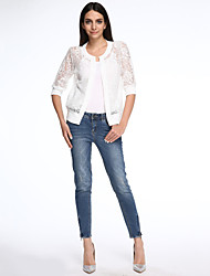 Women's Jacquard/Lace White/Black Jackets , Casual Round Neck ½ Length Sleeve Lace