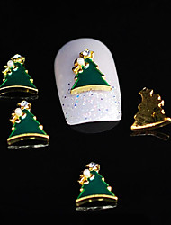 10pcs Dimond Xmas Tree 3D Alloy Nail Rhinestone DIY Nail Art Decoration