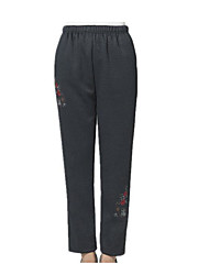 Women's Plus Size Straight Chinos Pants,Casual/Daily Simple Solid High Rise Elasticity Polyester Micro-elastic Winter