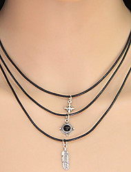Layered Necklaces Jewelry Casual Leaf Euramerican Alloy Women 1pc Gift Silver