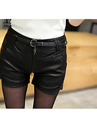 Women's Plus Size Straight Shorts Pants,Going out / Casual/Daily Sexy Solid Low Rise Button / Elasticity Polyester Micro-elastic Spring