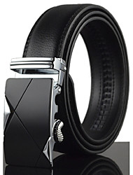 Men's Simple Black Genuine Leather Alloy Automatic Buckle Waist Belt Work / Casual /Party All Seasons