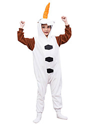 Kids Kigurumi Pajamas Olaf Leotard/Onesie Festival/Holiday Animal Sleepwear Halloween White Solid Polar Fleece For Kid Halloween Christmas