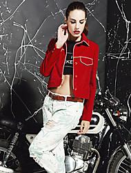M Women's Casual/Daily Street chic JacketsSolid Shirt Collar Long Sleeve Winter Red Black Cotton Polyester Medium