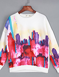 Women's Going out / Street chic Regular Hoodies,Print White Round Neck Long Sleeve Cotton Spring / Fall Medium