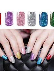 2x14 PCS Shimmering Powder Pure Colour Full Nail Stickers 6 Color to Choose