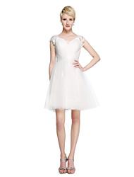 Lanting Bride® Courte / Mini Dentelle Tulle Transparent Robe de Demoiselle d'Honneur  - Robe de Soirée Reine Anne avecCeinture / Ruban