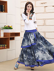 Sign women's national wind printing cotton dress embroidered peony flower big skirt skirts