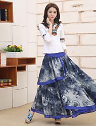 знак женщин&# 39, S национальная печать ветра платье хлопка вышитые пион цветок большой юбки юбки
