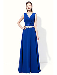 Floor-length Chiffon Sparkle & Shine / Sexy Bridesmaid Dress - A-line V-neck with Crystal Detailing / Side Draping
