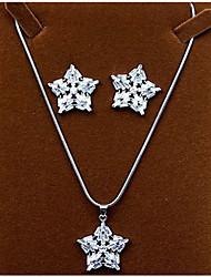 Damen Zirkon Schneeflocke Halsketten Ohrringe Für Party Hochzeitsgeschenke