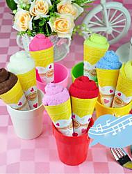 fibre de forme de cadeau d'anniversaire de crème glacée serviette créatrice (couleur aléatoire)
