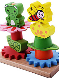 Stress Relievers / Building Blocks / Educational Toy For Gift  Building Blocks Leisure Hobby Cylindrical / Frog Wood 2 to 4 Years Rainbow