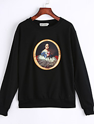 Women's Going out / Sports Simple / Cute / Black Round Neck Long Sleeve Cotton Spring / Fall