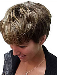 Short Colormix   Natural Wave Side Bang Synthetic Wig