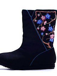 Women's Boots Spring Winter Comfort Canvas Outdoor Dress Casual Low Heel Satin Flower Flower Black Blue Walking
