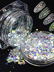 1 Bottle New Glitter Laser Slice Paillette Nail Art Hexagon Mixed Colorful Glitter Pigment