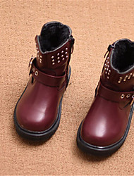 Girl's Boots Winter Comfort Leatherette Casual Flat Heel Rivet Black Gray Burgundy Others