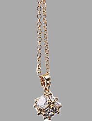 Femme Pendentif de collier Zircon Gemme Imitation de diamant 24K Plated Gold Circulaire Simple Style Argent Doré Bijoux PourQuotidien
