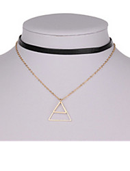 Necklace Pendant Necklaces Jewelry Wedding / Party Triangle Shape Basic Design Alloy Women 1pc Gift Gold