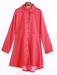 Tee Shirt Robe Femme Soirée / Cocktail Vintage,Points Polka Col de Chemise Au dessus du genou Manches Longues Rouge / NoirCoton /