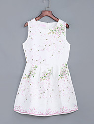 Women's Going out / Casual/Daily Street chic A Line / Sheath Dress,Print / Jacquard Round Neck  Sleeveless White