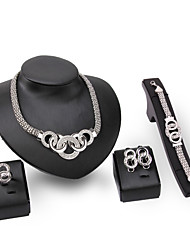 Jewelry 1 Pair of Earrings 1 Bracelet Necklaces Rings Wedding Party Alloy 1set Women Silver Wedding Gifts