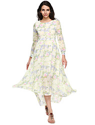 Women's Casual/Print Micro-elastic Long Sleeve Maxi Dress (Chiffon/Silk)