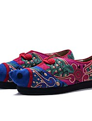 Women's Flats Spring Summer Fall Comfort Canvas Outdoor Dress Casual Flat Heel Satin Flower Flower Blue Green Walking