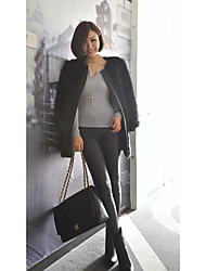 Women's Casual/Daily Simple Leather Jackets,Solid Round Neck Long Sleeve Spring Fall White Black PU Medium