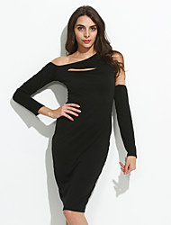 Women's Party Sexy Sheath DressSolid Asymmetrical Midi Long Sleeve Black Polyester Fall / Winter