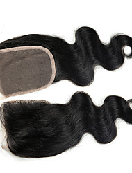 4x4 Closure Body Wave Human Hair Closure Light Brown Chinese Lace 100G gram Petite Cap Size