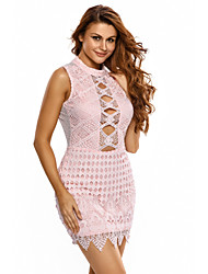 Women's Lace up|Lace|Backless Crochet Cut out Mini Dress