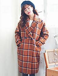 assinar novo casaco de lã grossa coreano e longas seções de lã casaco de sub maré estilo universitário feminino