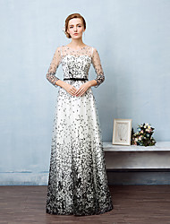 Formal Evening Dress Ball Gown Jewel Floor-length Lace / Tulle with Sash / Ribbon