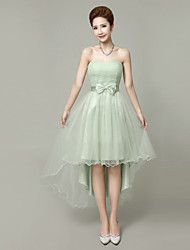 Short / Mini Tulle Mix & Match Sets / Short / Elegant / Lace-up Bridesmaid Dress - A-line Strapless withBow(s) / Crystal Detailing /