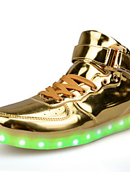 Damen-Sneaker-Lässig-PU-Flacher Absatz-Komfort Light Up Schuhe-Rot Silber Gold