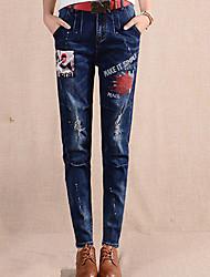 Damen Skinny Jeans Hose-Ausgehen Street Schick einfarbig Patchwork Hohe Hüfthöhe Knopf Baumwolle Unelastisch Winter