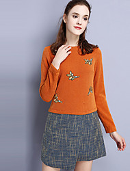 KAN F Women's Casual/Daily Simple Sheath DressEmbroidered Round Neck Above Knee Long Sleeve Orange Polyester Fall Mid Rise Inelastic Medium