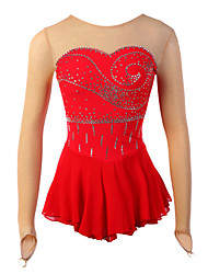 Ice Skating Dress Women's Long Sleeve Skating Skirts & Dresses / Dresses High Elasticity Figure Skating Dress Elastane Red Skating Wear