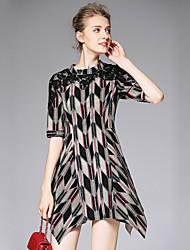 OULIE Women's Casual/Daily Vintage Sheath DressGeometric Crew Neck Asymmetrical  Length Sleeve Black Cotton / Nylon / Spandex Fall High Rise