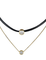 Black Rope Choker Collar Necklace with Gold Plated Chain