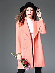 WEIWEIMEI  Women's Casual/Daily Simple CoatSolid Notch Lapel Long Sleeve Fall / Winter Pink Wool / Polyester