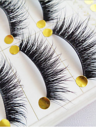 5 Pairs Of High Quality Manual False Eyelash Natural Cross Long Eyelashes Thick Cotton Stalk Eyelashes