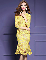 Women's Ruffle|Lace Plus Size Party Elegent Bodycon Lace Trumpet/Mermaid Fishtill Dress Round Neck Knee-length Sleeve Yellow
