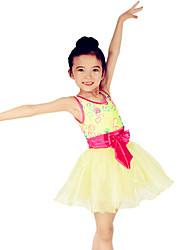 Ballet Dresses Children's Performance Spandex / Polyester / Organza Bow(s) / Embroidery / Sash/Ribbon 1 Piece Sleeveless Natural DressAs