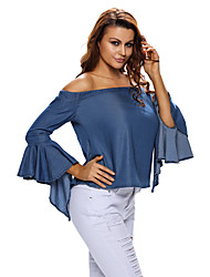 Women's Denim Off-shoulder Bell Sleeve Top