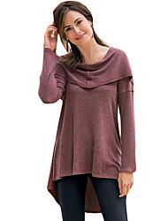 Damen Standard Pullover-Lässig/Alltäglich Einfach Solide Rot Mit Kapuze Langarm Acryl Herbst Mittel Mikro-elastisch